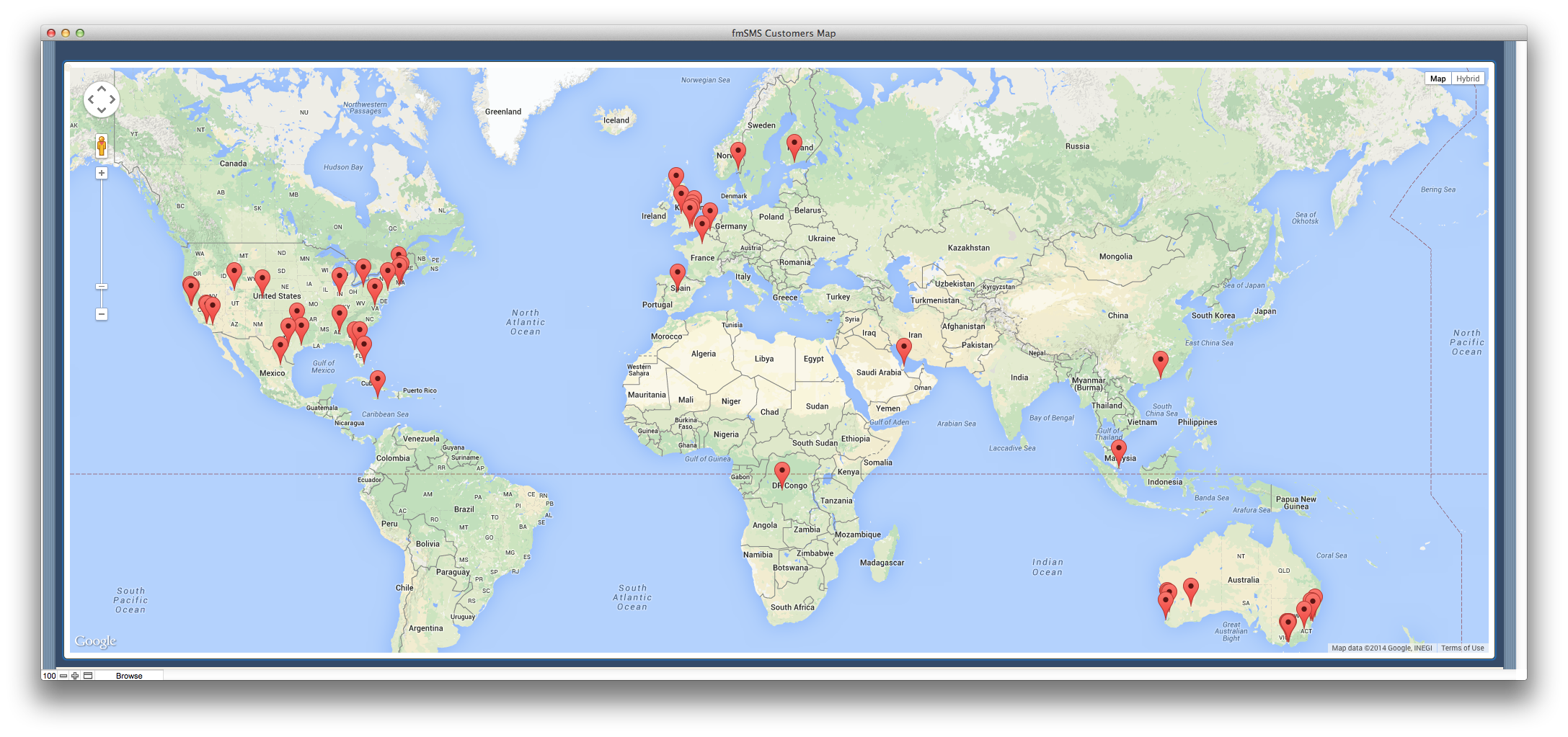 Where Are FmSMS Users Located FmSMS - America google maps